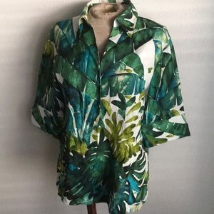 Lafayette 148 tropical palm tree printed blouse 14